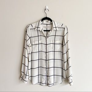 LOFT Windowpane Print Utility Shirt